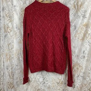 North crest Red metallic silver knit sweater Large